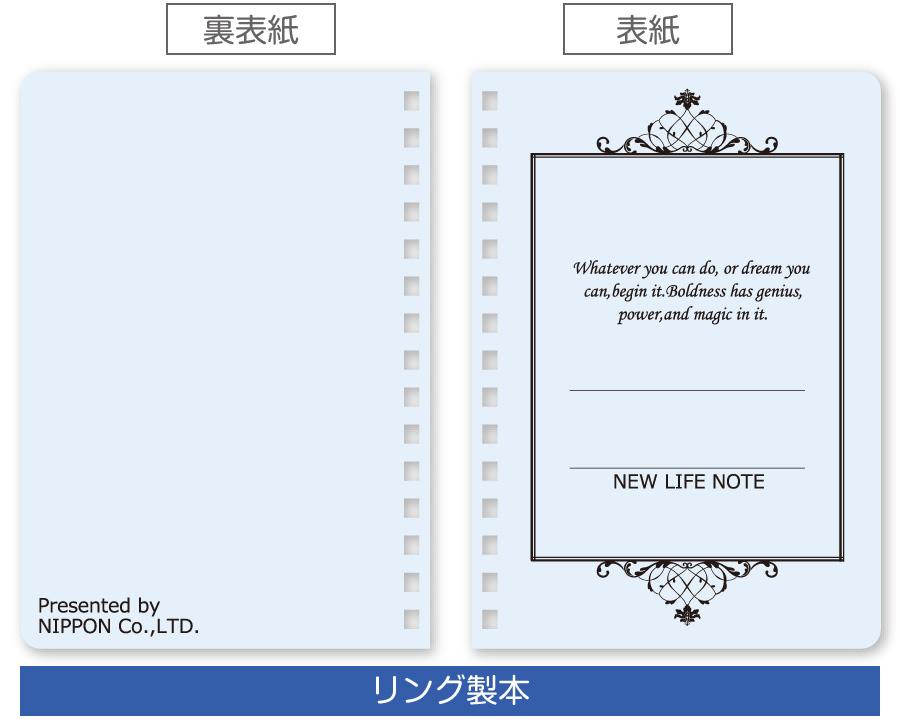 囲み飾り罫(シャーベットカラー:ブルー)、リング製本